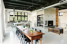The dining room of a converted loft in Portland..