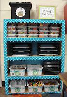 Border on cabinet- cute way to add color to old cabinets!