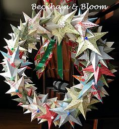 Christmas Star Wreath. Very Pretty! I need to make one of these, very cute blog also!
