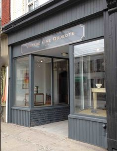 My storefront . facade of vintage fine objects, toronto. paint colour is farrow & ball Storefront Signage, Shop Signage, Design Garage, Shop Front Design, Garage House, Exterior Colors, Exterior Paint, Shop Interior Design, Showroom Design