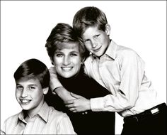 1994: Princess Diana and her sons were captured in this informal pose during a relaxed moment between sittings for an official Christmas card.