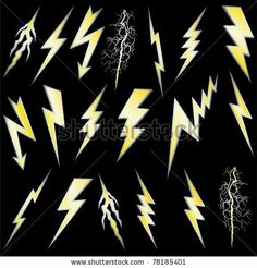 stock vector : Lightning bolt set. Gold lightning with silver border. Vector.