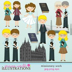 Missionary Work Cute Digital Clipart for Card by JWIllustrations, on Etsy