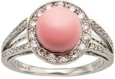 Conch Pearl, Diamond, Platinum Ring, Sophia D.