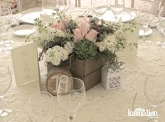 www.kamalion.com.mx - Decoración / Vintage / Rustic / Mint & Pink / Menta & Rosa / Centerpiece / Centros de Mesa