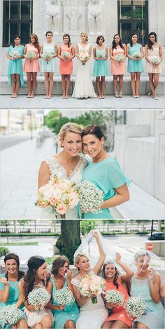 mismatched bridesmaids done right!   peach and teal bridesmaids dresses. Cute!