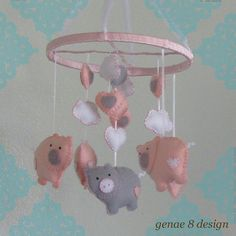 Felt Pig and Stars Baby Mobile- Baby Pink, Grey and White Pig Mobile on Etsy, $55.00