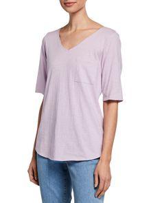 8c980cf3f12 Eileen Fisher Petite Organic Cotton V-Neck Elbow-Sleeve Slub Jersey Tee |  Neiman