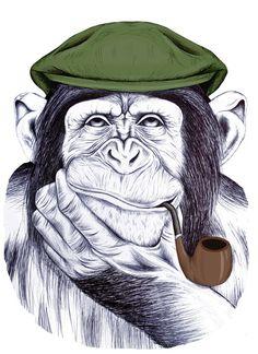 Wise Mr Chimp by Libby Watkins, via Behance Animal Drawings, Art Drawings, Monkey Tattoos, Monkey Art, Desenho Tattoo, Pencil Art, Pet Birds, Unique Art, Watercolor Art