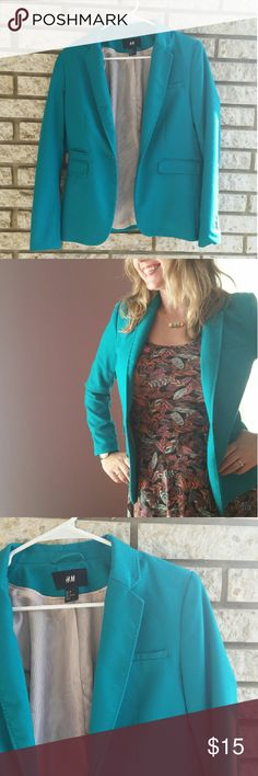 Vibrant Turquoise H&M Blazer I LOVE the color of this blazer, just not the size for me! I have worn this blazer with pants, jeans and dresses alike! It brings an exciting pop of color to any outfit! H&M Jackets & Coats Blazers