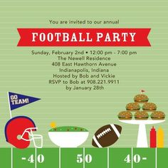 Football Feast - Party Invitations - Magnolia Press in Juniper Green. Invite your buddies over for an afternoon of football and a delicious spread. #football