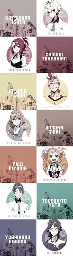 Kiznaiver | Yoshiharu Hisomu, Niko Niiyama, Hajime Tenga, Noriko Sonozaki, Katsuhira Agata, Chidori Takashiro, Honoka Maki, Tsuguhito Yuta | Anime | SailorMeowMeow