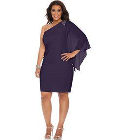 R&M Richards Plus Size One-Shoulder Beaded Dress