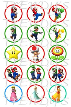 "Super Mario Brothers & Friends Inspired Variety Digital 1"" Bottle Cap Images on a 4x6 Collage Sheet for Crafts or Scrapbooking. $2.00, via Etsy."