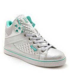 Aqua & Silver Sire Varsity Punk Hi-Top Sneaker