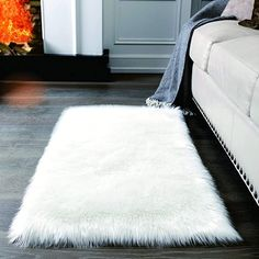 Amazon.com: Super Soft White Fluffy Rug Faux Fur Area Rug, Fur Rugs for Bedroom, Fuzzy Carpet for Living Room, 2x4 Feet, Ciicool: Home & Kitchen White Rugs, Bedroom Carpet, Living Room Carpet, Rugs In Living Room, Bedroom Rugs, Bedroom Decor, Bedroom Flooring