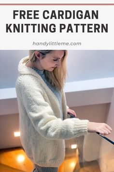 Make a super cozy oversized cardigan with this free cardigan knitting pattern. The skill level is easy, which makes it great for beginner knitters who want to try making their first garment. This raglan cardigan is knit in five pieces and uses bulky weight yarn for quick results! This cardigan has an oversized fit, which makes it really soft and comforting to wrap yourself up in. Wear it while you stay at home, working or relaxing. #knitting #sweater #cardigan #raglan #bulky #quickknit Winter Knitting Patterns, Free Knitting Patterns For Women, Beginner Knitting Patterns, Easy Knitting, Knitting For Beginners, Knitting Ideas, Knitting Yarn, Knitting Projects, Oversized Cardigan