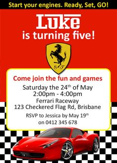 Ferrari / Racing Car Birthday Invites / by CustomPartyInvite, $6.00