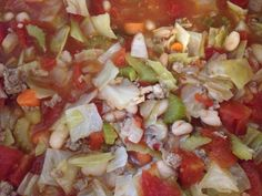 Sausage and Cabbage Soup~ In crockpot: 6 cups chicken broth, 28oz can diced tomatoes (undrained), can of drained great Northern beans, half tube jimmy deans sausage browned, sautéed onions, celery, carrots and cabbage (lots of cabbage) Pepper and Lowery seasoned salt and dash Of Cayanne pepper