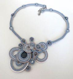 Statement white blue necklace soutache OOAK soutache by sutaszula