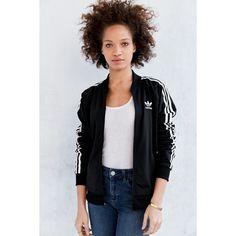 adidas Originals Supergirl Track Jacket ($70) ❤ liked on Polyvore featuring activewear, activewear jackets, black, tracksuit jacket, adidas sportswear, adidas activewear, track top and adidas