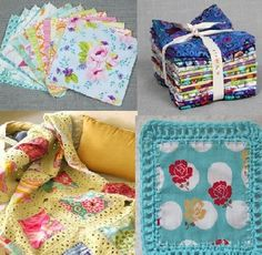 Crochet with fabric squares to make a fabric crochet blanket
