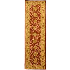 <li>Enhance your home decor with this traditional area rug <li>Fringeless borders give this rug a clean, elegant feel <li>Accent rug features a rust background with an ivory border