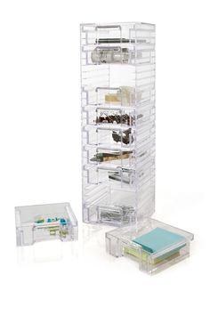 """10-Drawer Organizer Details: This vertical storage unit is perfect for storing makeup, hair accessories, small bathroom items, or sewing notions. - Acrylic construction - 10 drawers - Stable bottom rubber feet - 17.5"""" H x 5.38"""" W x 4.88"""" L - Made in USA Materials: Acrylic $35.00"""