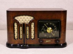 Old Antique Wood Zenith Vintage Tube Radio -Restored Working Art Deco Black Dial #Zenith