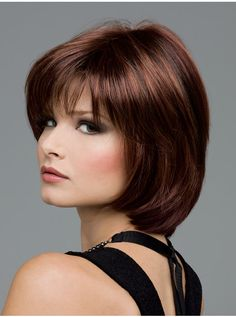 Haley by Envy Wigs-Mono Top Hair Color Cream, Hair Color For Black Hair, Brown Hair Colors, Cool Hair Color, Medium Short Hair, Medium Hair Styles, Short Hair Styles, Natural Hair Styles, Chocolate Cherry Hair Color