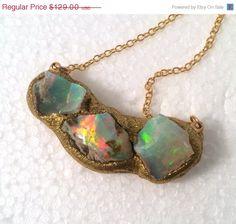 HOLIDAY SALE Large raw Opal trio gold by YaronaJewelryDesign