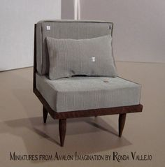 1:6th Scale Barbie, Blythe, etc. Miniature dollhouse Chair and pillow upholstered in decorator style fabric.