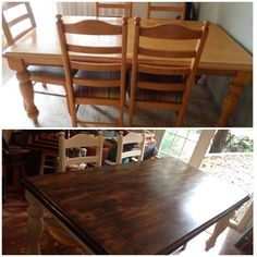 Table redo! Dated 90's style table transformed to a modern farmhouse table