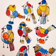 Free as a bird.  #birds #watercolor #paint Tried to use a minimal palette and each bird has the same colors.