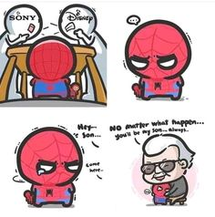 Dammit sony/Disney what the hell did you do and spiderman doesnt belong to either one of you Avengers Humor, Avengers Comics, Baby Avengers, Funny Marvel Memes, Marvel Jokes, Funny Memes, Hero Marvel, Marvel Art, Captain Marvel