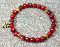 Beaded Stretch Bracelet Red Bamboo Coral Gemstone by CoralsJewelry