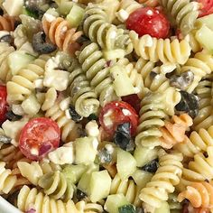 Quick & Easy Italian Pasta Salad {w/ feta cheese and vegetables}. Quick & Easy Italian Pasta Salad {w/ feta cheese and vegetables} Recipes Easy Italian pasta salad will be the star of all . Easy Cold Pasta Salad, Cucumber Pasta Salad, Easy Pasta Salad Recipe, Best Pasta Salad, Pasta Salad Italian, Pasta Salad Recipes Cold, Pesto Pasta, Pasts Salad Recipes, Tri Color Pasta Salad