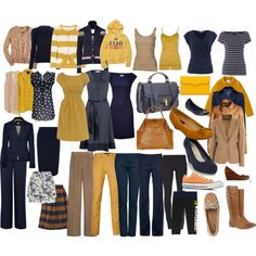 """Blue and Maize Mix n Match Wardrobe"" by arbwaggoner on Polyvore"