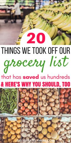 20 things we quit buying to save money on groceries without coupons. How we use frugal living and meal planning to save money on groceries every month. How to eat healthy on a budget. Grocery shopping list to help you save money on food every month. Money Saving Meals, Save Money On Groceries, Ways To Save Money, Money Tips, Money Savers, Groceries Budget, Living On A Budget, Frugal Living Tips, Frugal Tips