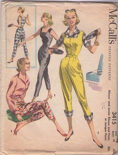 6b2aaecba46 Vintage 50 s Square Neck Capri Pants Jumpsuit