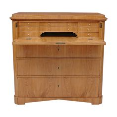 Biedermeier Antique Ash Chest of Drawers with Fold-Down Drawer-Front Secretaire