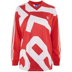 Long Sleeve Printed T-Shirt by Adidas Originals ($60) ❤ liked on Polyvore featuring tops, t-shirts, red, long sleeve v neck t shirts, longsleeve t shirts, polyester v neck t shirts, red long sleeve tee and long sleeve tops