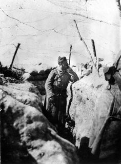 WW1, Battle of the Somme. A French soldier in a recently captured German trench on the Somme.