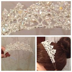 Vintage ivory tatted lace tiara  on Etsy, £95.00