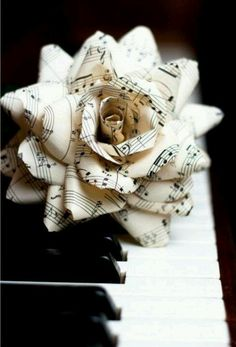 sheet music oragami flower to go with your music theme!