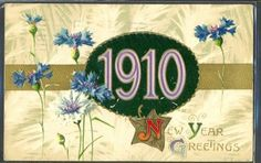 GY125-Annee-MILLESIME-1910-BLEUETS-DORURES-FANTAISIE-Gaufree-RELIEF-WINSCH