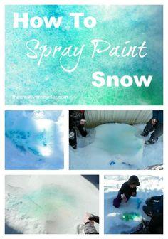 How to spray paint snow... fun winter kid's activity