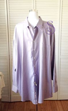 PRONTO UOMO Non-Iron Mens Dress Shirt 100% Cotton Size 20 36/37 Lavender #PRONTOUOMO