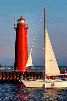Muskegon Michigan Light House - I've seen this many times. Beacon Of Light, Sail Away, Am Meer, Le Moulin, Tall Ships, Lake Michigan, Muskegon Michigan, Holland Michigan, Great Lakes