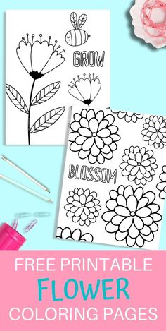 These free printable flower coloring pages are perfect for all ages! They are so cute and are sure to brighten you and your kid's day! Sunflower Coloring Pages, Printable Flower Coloring Pages, Mothers Day Coloring Pages, Coloring Pages For Grown Ups, Heart Coloring Pages, Spring Coloring Pages, Unicorn Coloring Pages, Printable Coloring Sheets, Cute Coloring Pages